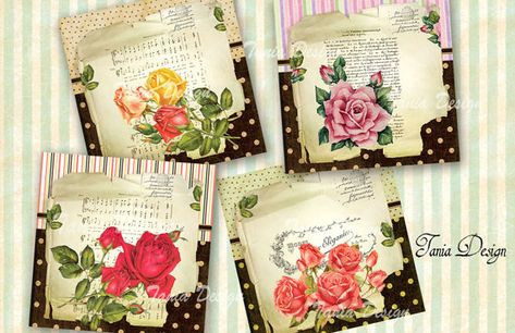 """52 SCRAPBOOK CARD CRAFT HANG GIFT TAGS SET OF 5 3/""""X4.75/"""" FLORAL ROSES"""