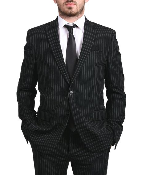 Versace Collection Men S Pinstripe Two Piece Viscose Suit Black
