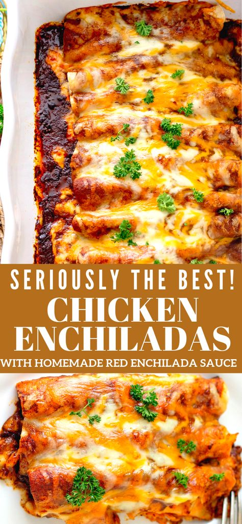 Every layer of these delicious Chicken Enchiladas with Homemade Red Enchilada Sauce is packed with flavor!