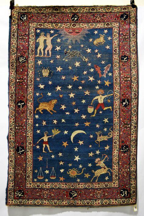 Dream Home Interior suzani: Persian zodiac rug, probably Kerman area, south west Persia, early century, X X Carpet Diy, Magic Carpet, Rugs On Carpet, Hotel Carpet, Carpet Decor, Cheap Carpet, Carpet Tiles, Persian Carpet, Astrology