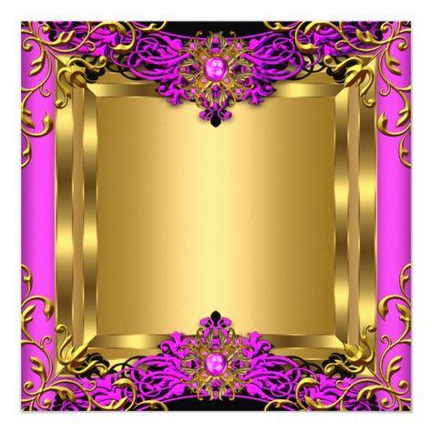 Shop Elite Hot Pink Gem Gold Black Birthday Party Invitation created by Zizzago.