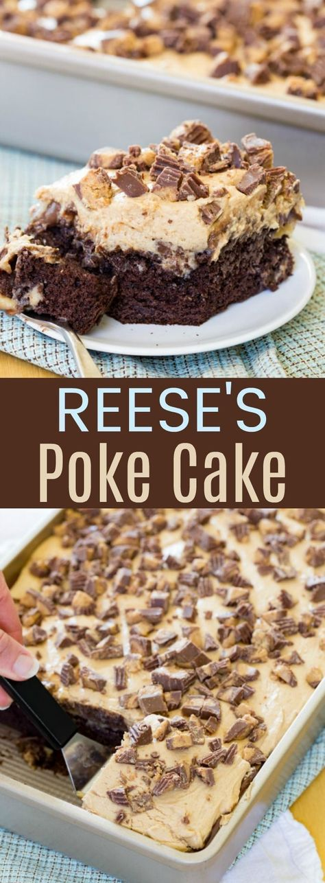 Reese's Poke Cake - an easy dessert recipe loaded with chocolate, peanut butter, and peanut butter cups! Perfect for parties and potlucks! Reese's Poke Cake - an easy dessert recipe loaded with chocolate, peanut butter, and p Easy Cake Recipes, Healthy Dessert Recipes, Cupcake Recipes, Baking Recipes, Cupcake Cakes, Recipes Dinner, Healthy Food, Shoe Cakes, Dessert Cake Recipes