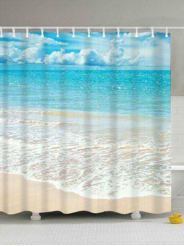 Beach Scenery Water Resistant Anti Bacteria Shower Curtain Light Blue 180 200cm Beach Shower Curtains Cheap