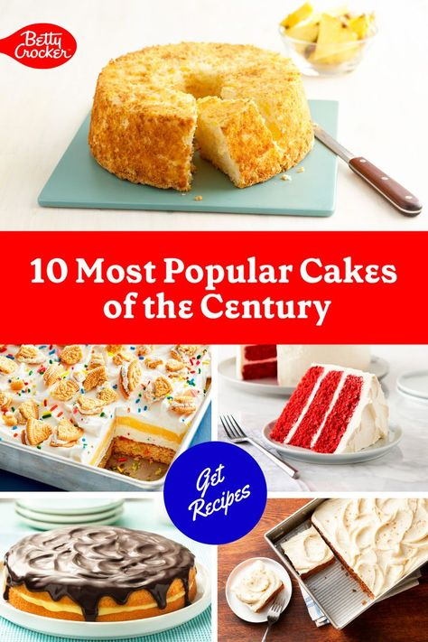 Betty Crocker is celebrating 100 years young! Why not join in the fun with one of the best cake recipes ever? We've taken a sweet trip down memory lane and discovered the 10 Most Popular Cakes of the Century! Pin today and 'bake' history with one of these timeless, must-make cakes.