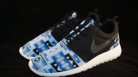 on sale 46b44 e14c8 New Nike Roshe Run Custom Blue White Black Tribal Aztec Edition Mens Shoes  Sizes 8 - 15
