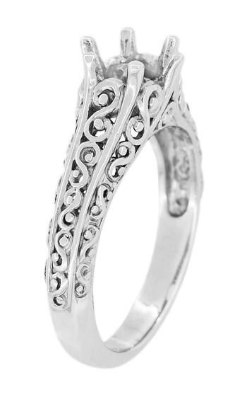 Filigree Flowing Scrolls Edwardian Engagement Ring Setting For A 3 4 Carat Diamond In 14 Karat White Gold Edwardian Engagement Ring Diamond Engagement Ring Set Scroll Engagement Ring