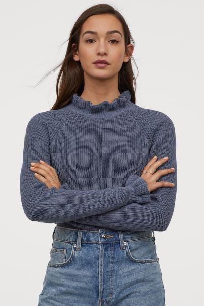 Firfirli Lastik Orgulu Kazak Guvercin Mavisi Kadin H M Tr Ribbed Sweater Ribbed Knit Sweater Knit Cotton