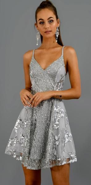 sparkly silver prom dresses short