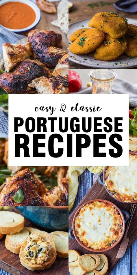 Our best easy Portuguese dishes! Recipes like Chorizo Cheese Dip to Portuguese Shrimp Empanadas (Rissóis de Camarão). If you love Portuguese cuisine or have yet to try it, these are the recipes for you! Portuguese Shrimp Recipe, Portuguese Recipes, Spanish Recipes, Portuguese Food, Banana Apple Recipes, Food Dishes, Dishes Recipes, Recipies, Kos