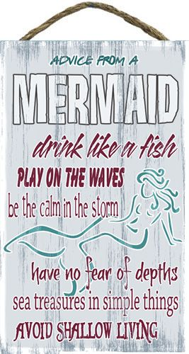 Advice From A Mermaid Slat Board Sign   OceanStyles.com