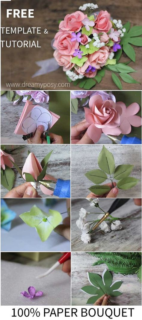 How To Make Rose Paper Bouquet Free Template Paper Flowers Diy