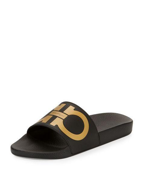 4566e10b2568 Salvatore Ferragamo Groove Gancini Slide Sandal