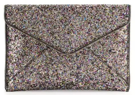Leo Glitter Envelope Clutch Bag, Silver/Multi