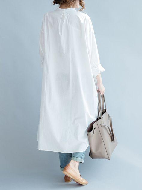 Popjulia Kadinlar Beyaz Elbise Shift Gunduz Elbise Uzun Kollu Casual Keten Elbise Cotton Long Shirt Long Shirt Dress White Collared Blouse