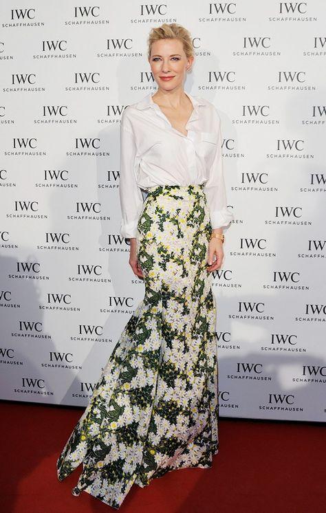 cate blanchett iwc schaffhausen event red carpet- idea for skirt design, red chnese fabric