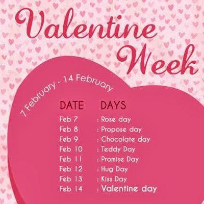 Valentine Week List 2018 Dates Schedule Rose Day Propose Day Hug ...