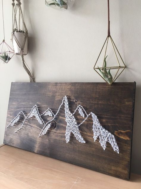 The perfect gift or reminder of home. The wood is spruce pine with a walnut stain. Each piece of wood is unique. String Art Templates, String Art Tutorials, String Art Patterns, Doily Patterns, String Wall Art, Nail String Art, Diy Wall Art, Wall Decor, Anchor String Art
