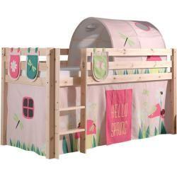 Hochbett Pino Fruhling Kiefer Massiv Vorhang Tunnel Taschen 90x200 Cm Roller 90x200 Fruhling Hochbett Kiefer Massi In 2020 High Beds Kids Playroom Playroom