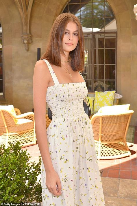 Kaia Gerber rocks sweet summer dress with leather boots atTVF for DVF