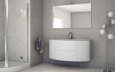 Mobile bagno edelweiss cm 90 o 120 lavabo cristallo sospeso con ante
