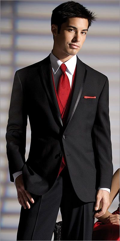 Grooms-men look Black shirt and vest with red tie LOVE for the ...