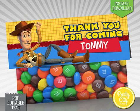 INSTANT DOWNLOAD - EDITABLE TEXT Pixar Toy Story Favor Bag Topper - Printable fold-over toppers featuring Woody! Simply print, cut out, and