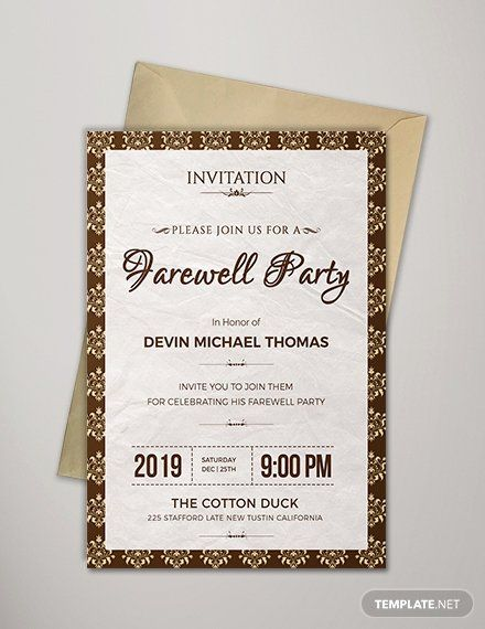 Farewell Invitation Template Free In 2020 With Images