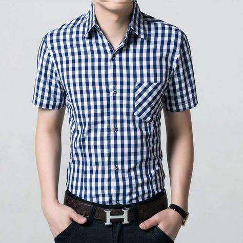 34e15f59d15 Red And Black Plaid Shirt Men Shirts Summer Chemise Homme Mens Checkered  Shirts Short Sleeve