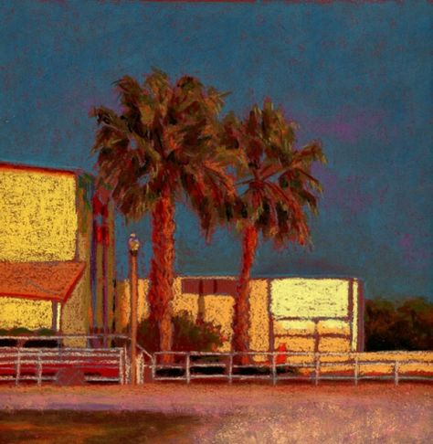 Gulfport Casino Sunset After the Storm Pastel Painting, painting by artist Nancy…