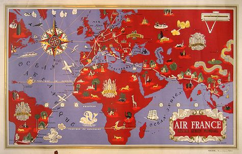 Air France - Constellation Map (Blue) Furnishings and products - new air france world map flight routes c.1948