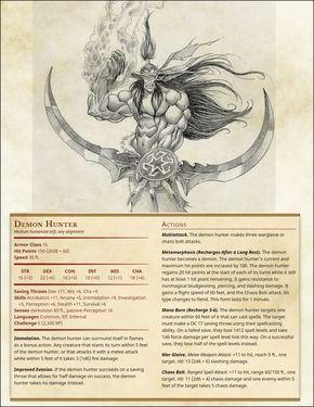 Demon Hunter   D&D Monster Sheets   Demon hunter, Dnd stats