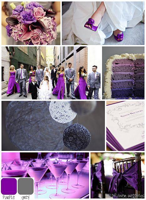 Suggestions pour un mariage en gris et violet - Gâteaux de mariage - Robe de demoiselle d'honneur - Lanternes - Boissons - Nœuds Chaises Violet - Bouquet - Chaussure de la mariée