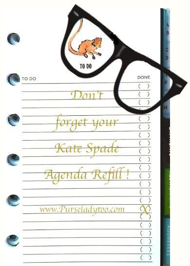 Kate Spade Agenda Calendar Refill - http\/\/wwwpurseladytoo - agenda