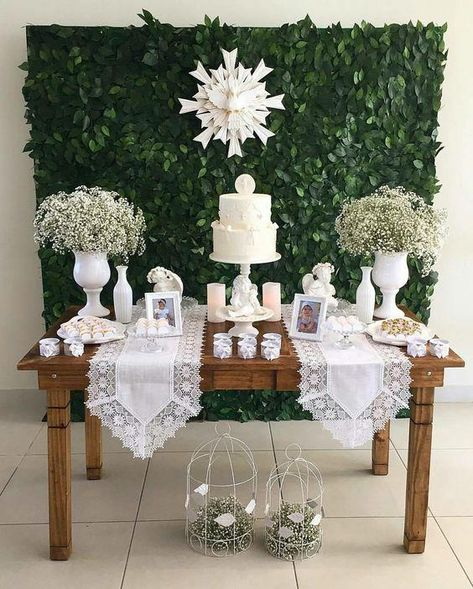 New baby boy baptism party ideas center pieces 21 ideas Baptism Party Girls, Baptism Themes, Baptism Party Decorations, First Communion Decorations, First Communion Party, Baby Girl Baptism, Baptism Favors, Baptism Ideas, Boy Baptism Centerpieces