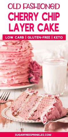 Take a look at this keto cherry chip layer cake. This low carb gluten-free recipe is one that is as pretty as it is delicious. With this recipe you can enjoy your sweets without worrying about breaking your diet. If you have dairy restrictions there are some easy substitutions you can make to enjoy this cake dairy-free. Try this incredible cherry chip layer cake today. It will quickly become a favorite family dessert. #cake #recipe #dessert #lowcarb #glutenfree  Take a look at this keto cherry c