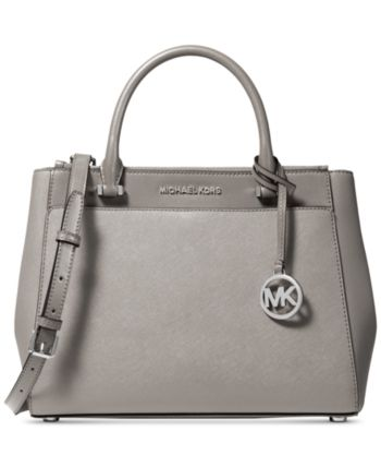 Michael Michael Kors Gibson Leather Satchel Pearl Grey