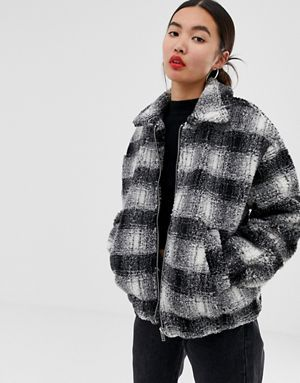 d663a2bd9 New Look brushed check teddy borg coat in black   asos in 2019 ...