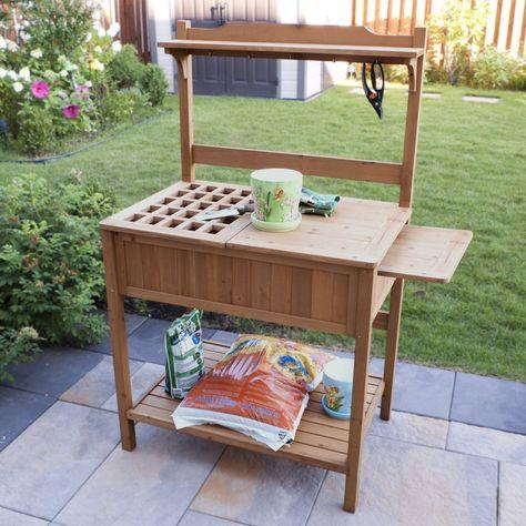 Amazon Com Merry Garden Potting Bench With Recessed Storage