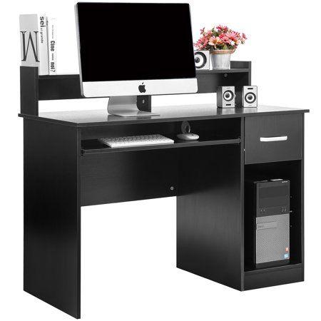 Ktaxon Wood Computer Desk Office Black Laptop Pc Work Table Home Drawer Keyboard Tray Walmart Com In 2020 Wood Computer Desk Office Computer Desk Office Desk