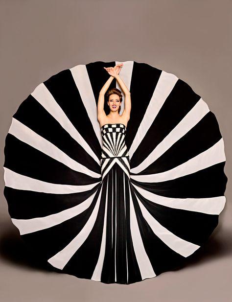 Blanka Matragi 2012 Black and white striped and checkered dress / gown