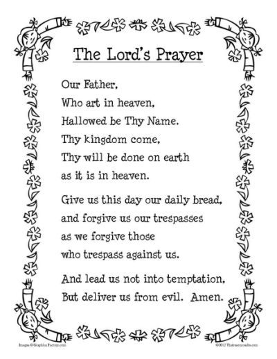 Our Father Printable Prayer Sheet The Lords Prayer Prayers For