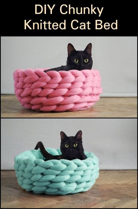 DIY Chunky Knitted Cat Bed - These DIY chunky knitted beds will be perfect as gifts for your pet-loving friends. These DIY chunk - Animal Projects, Yarn Projects, Finger Knitting Projects, Knitting Tutorials, Diy Cat Bed, Diy Crochet Cat Bed, Pet Beds Diy, Knitted Cat, Cat Crafts