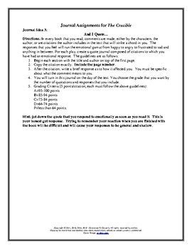 Literature The Crucible Journal Assignment Three Activitie By Connie Ela Activities Paper Topics Research Topic