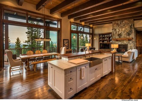 Open kitchen: decorating tips and models to inspire - Home Fashion Trend Rustic House Plans, Barn House Plans, New House Plans, Open Kitchen And Living Room, Open Plan Kitchen, Metal Building Homes, Building A House, Casas Cordwood, Dream Home Design