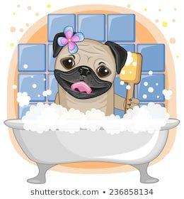 Cute Cartoon Pug Dog In The Bathroom Pugs Adorables Logotipo De Animal Dibujo De Perro