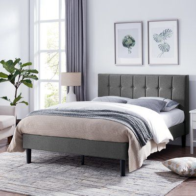 Charlton Home Geno Queen Upholstered Standard Bed Colour Charcoal