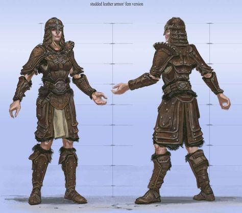 Studded Armor Female Video Games Artwork Skyrim Light Armor Skyrim Armor Sets Female Armor