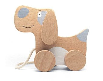 Pull Dog Kids Wooden Toy Dog Wooden Toy Dog Natural Wooden