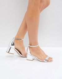 Glamorous Glamorous Silver Barely There Kitten Heeled Sandals Silver Kitten Heels Heels Kitten Heel Sandals