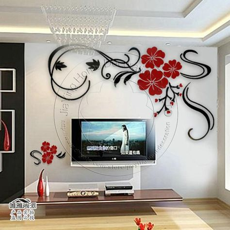 6f93627eee3 Wholesale Tv Wall - Buy New 2014 3D Best Acrylic Beautiful Black And Red  Flower Tv Wall Home Decoration Novelty Households Wall Art Stickers Decor
